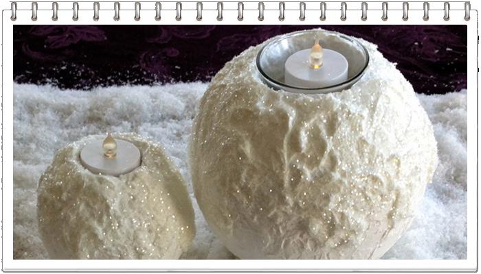 свеча снежок из пенопласта