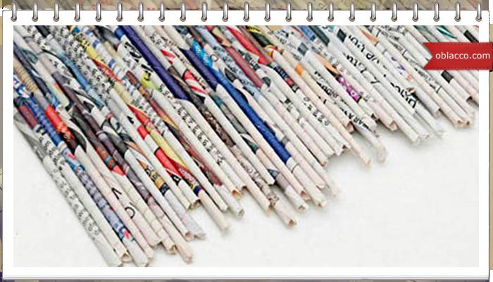Круглая коробка в японском стиле. Плетение из газет