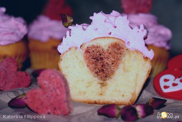 маффины с сердечком валентинка
