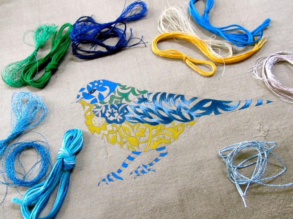 рисунок на ткани окраска вышивка