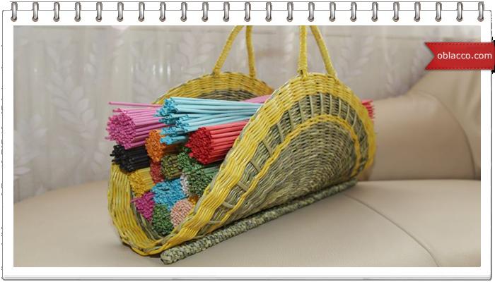 Плетение из газетных трубочек. Декоративный элемент «перо»