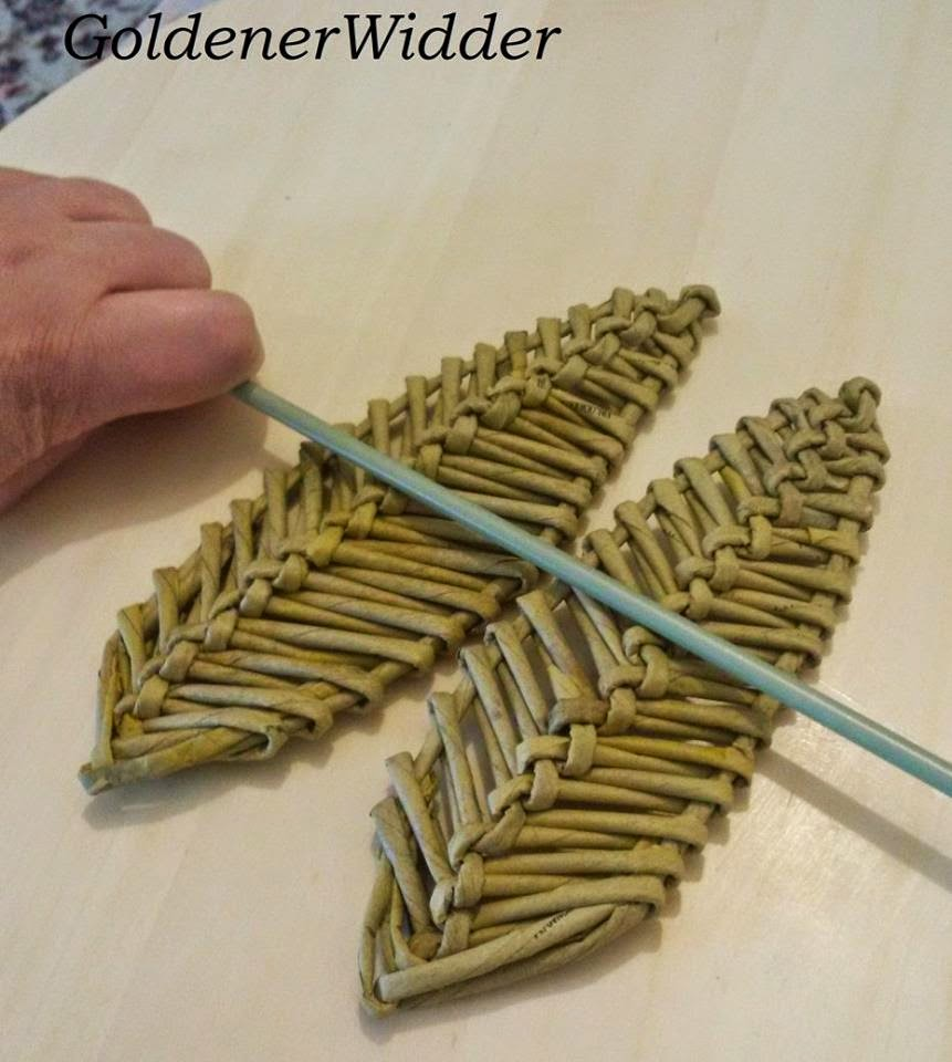 Плетение из газетных трубочек. Декоративный элемент перо лист