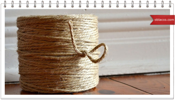 Интерьерная корзинка, плетеная из джута