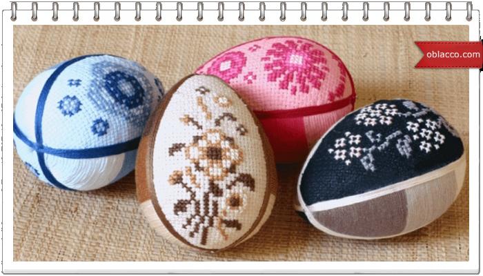 Яйца пасхальные шелковые в технике кинусайга