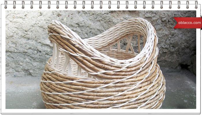 Красивая плетеная корзинка к Пасхе, необычное плетение из бумажных трубочек