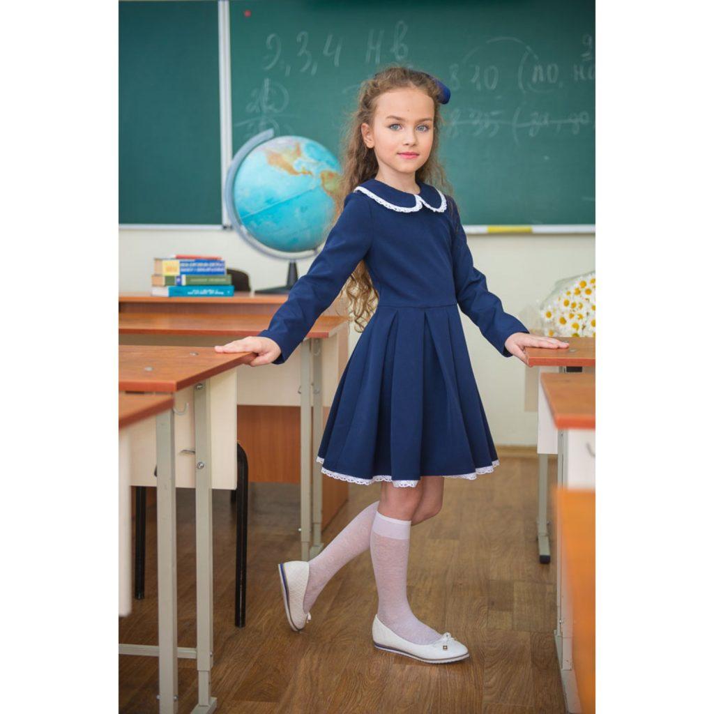 школьное синие платье