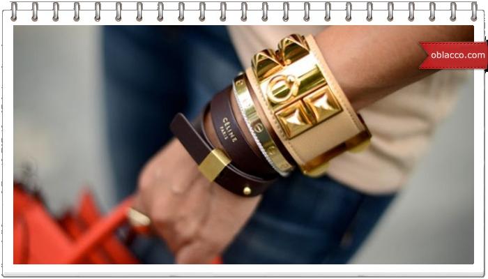 Кожаный браслет с вышивкой