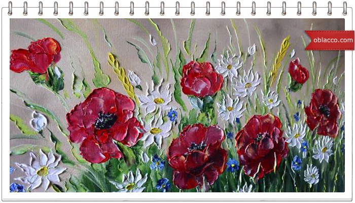 масло цветы картины