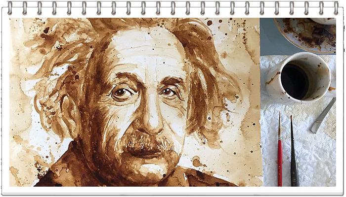 энштейн рисунок кофе