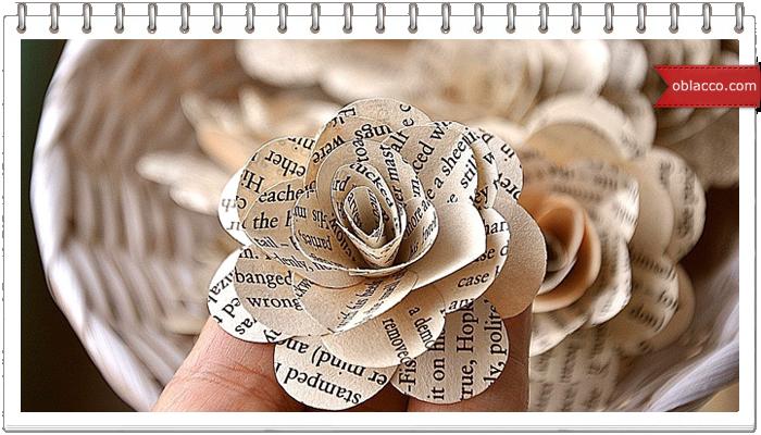 Винтажные розы из газет и другие элементы декора