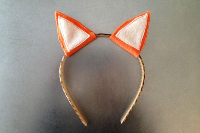 костюм лисички своими руками - ушки