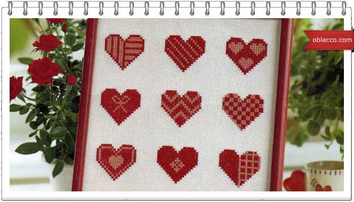Схема вышивки крестом валентинок 545
