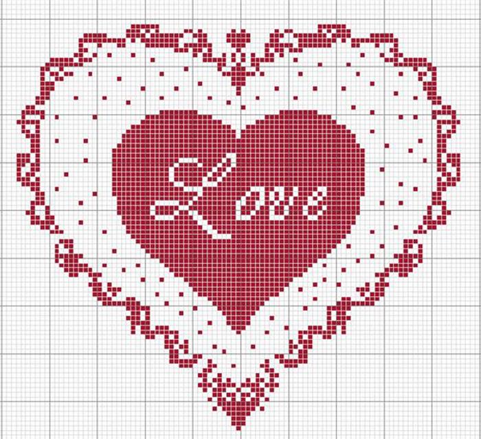 Схема вышивки крестом валентинок 340
