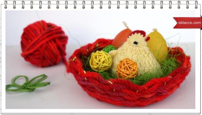 Корзинка из ниток, плетеная на картонной тарелке