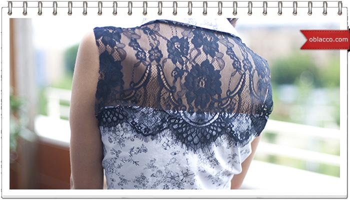 Блузка с кружевом. Переделка рубашки