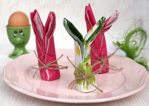 Как сделать зайца из салфетки. Пасхальный декор