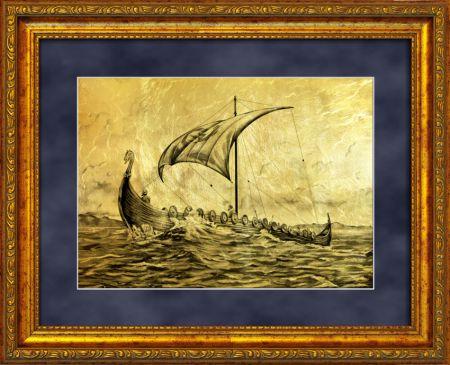 золотые картины подарки морской тематики