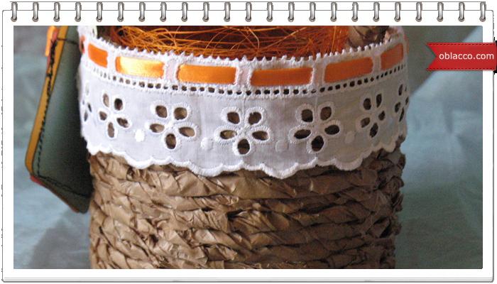 Корзинка из пергаментной бумаги