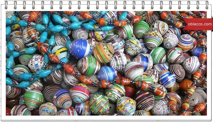 декор плетеных изделий бумажными бусинами