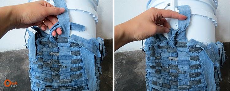 Корзина из старых джинсов своими руками