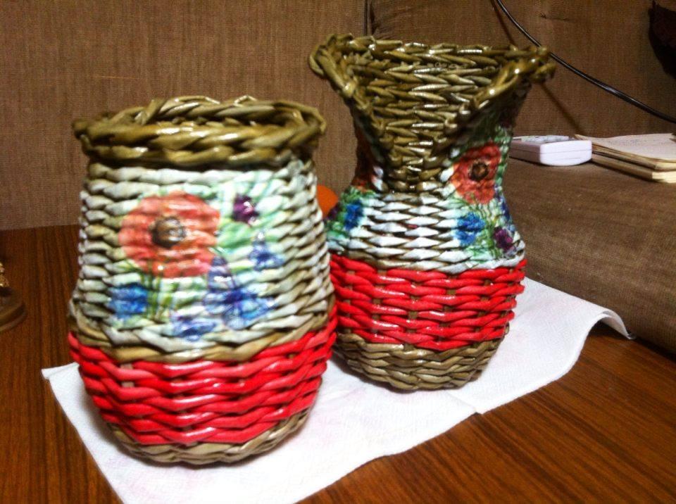 вазочки плетеные