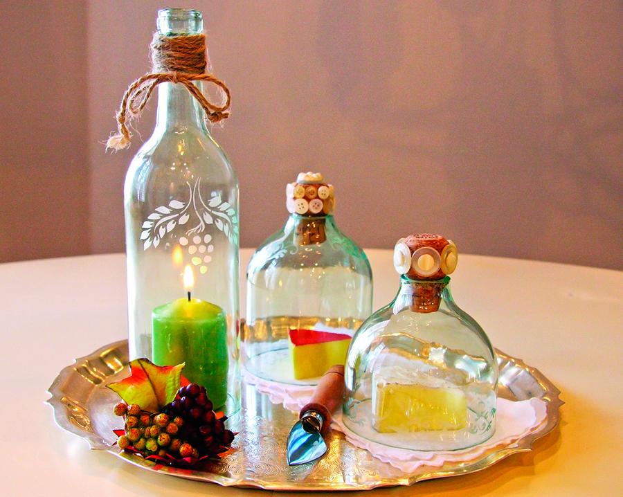 Бутылочный декор интерьера