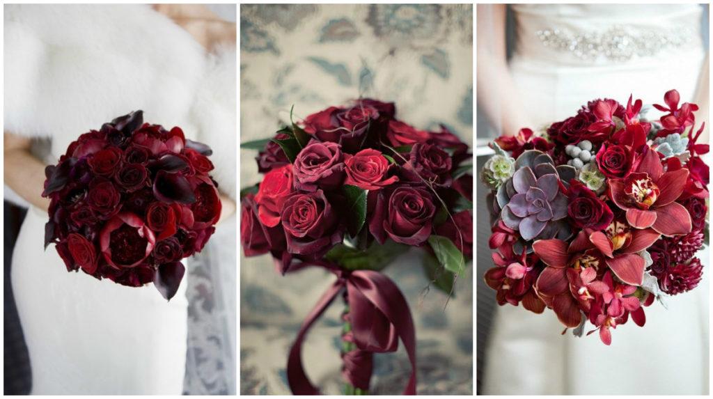 свадебный букет цвет марсала