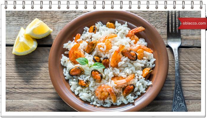 Пилав -  вкусное блюдо из риса с морепродуктами
