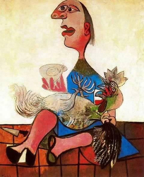 женщина и петух
