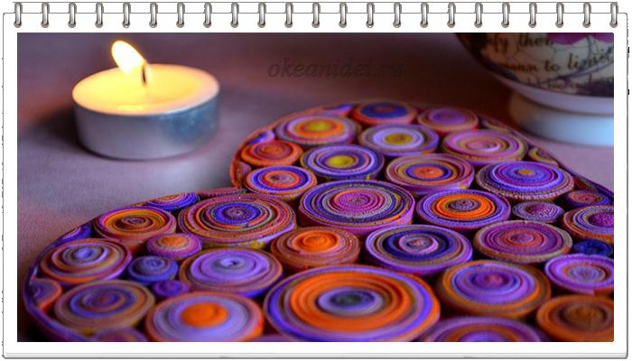 Подставка-валентинка под кружку из полимерной глины