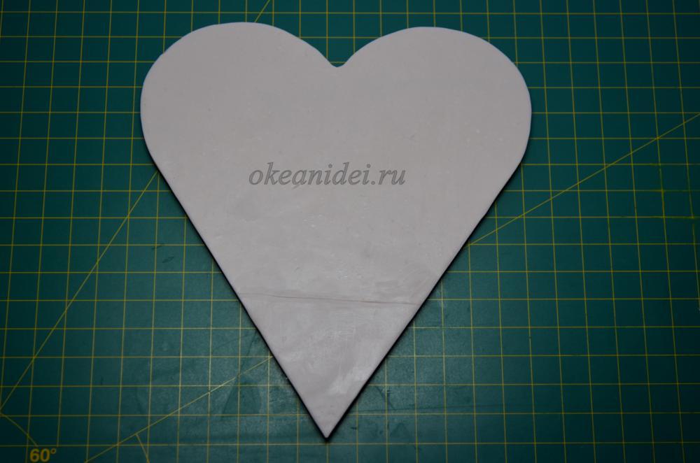 подставка из полимерной глины сердечко валентинка