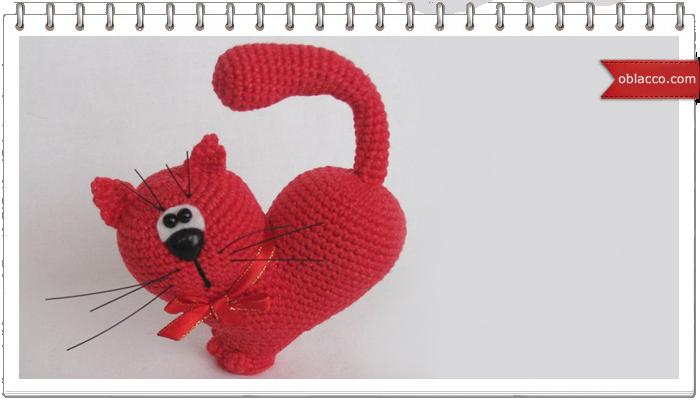 Сердце - кот. Игрушки вязаные крючком. Амигуруми