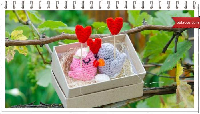 Влюбленные птички амигуруми