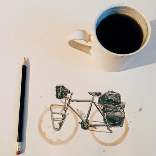 велосипед кофе весна