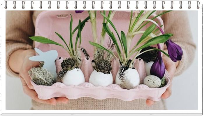 Композиция с цветами в скорлупе и в лотке для яиц