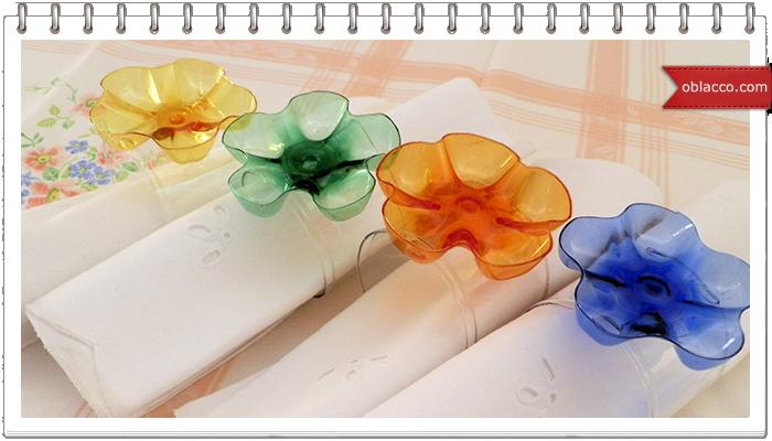 Украшения для салфеток из пластиковых бутылок