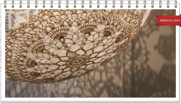 Абажур ажурный, плетеный из бумажных трубочек