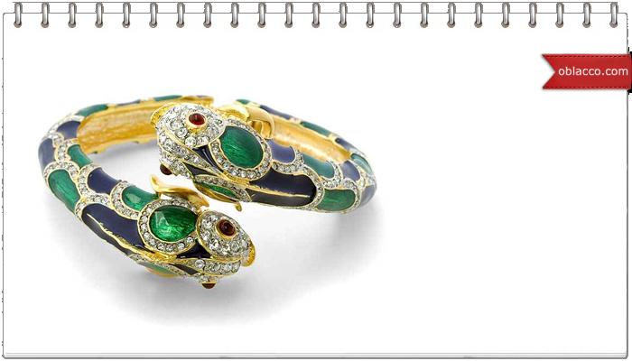 Золотой женский браслет с изумрудами