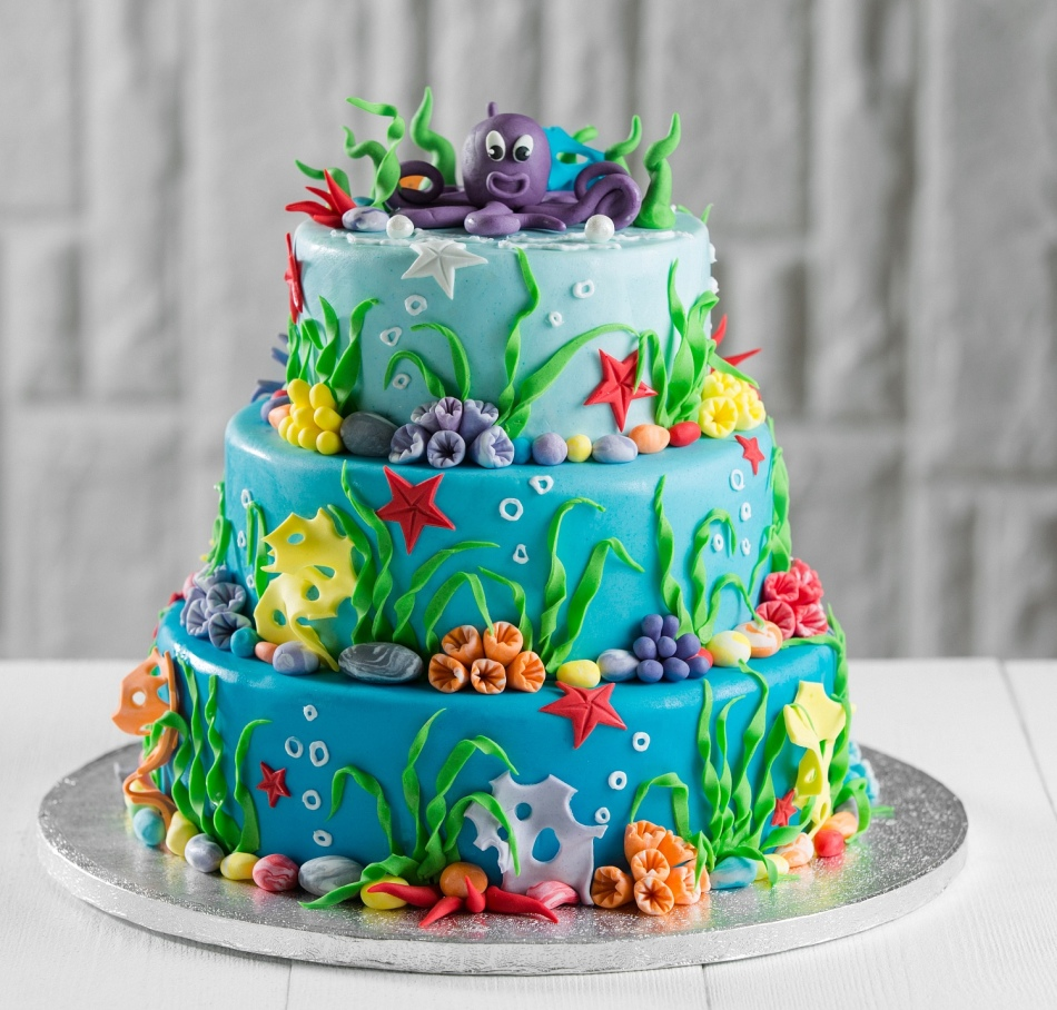 детский торт в морском стиле