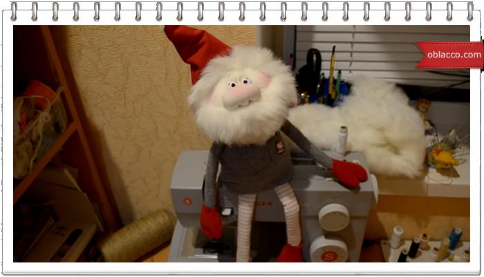 """Текстильная кукла """"Новогодний гном"""""""