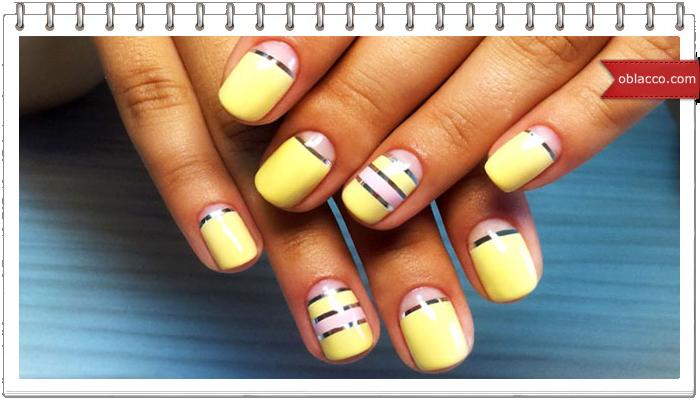 Дизайн ногтей со скотч-лентой