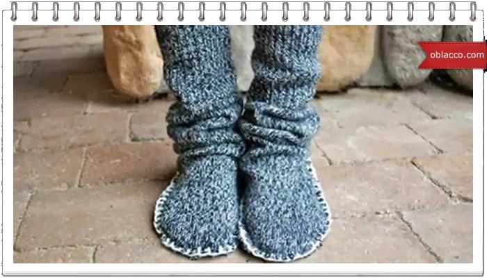 Домашние сапожки из рукавов от свитера
