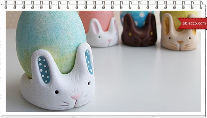 Кролики — подставки под яйца из полимерной глины