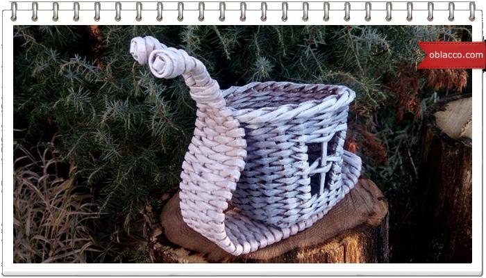 Корзинка-улитка. Плетение из бумажных трубочек