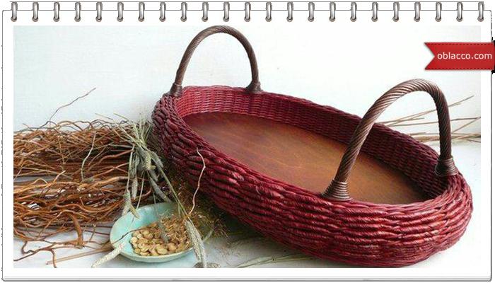 """Плетеная вазочка с двойными стенками и узором """"узелки"""""""
