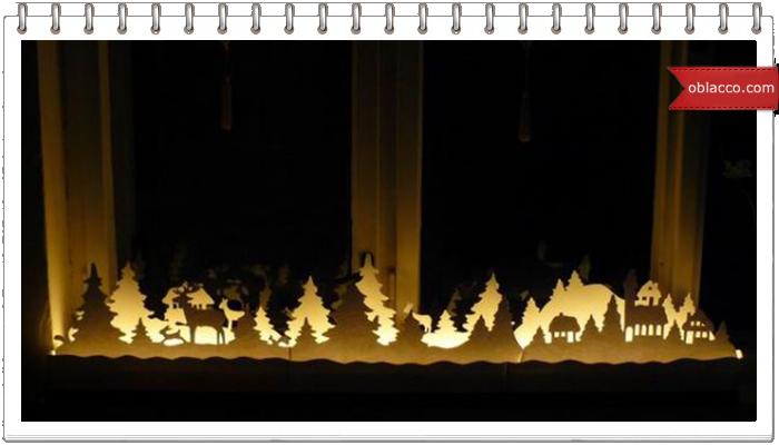 Очень простое и очень эффектное украшение подоконника к Новому году