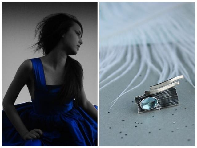 Украшение, которое подойдёт под синее платье