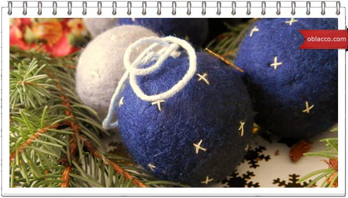 Войлочные новогодние шары на пенопластовой основе