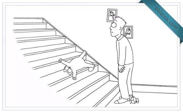 Simon's Cat. Лестница